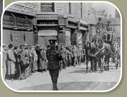 Fred Ridings Funeral Cortege passes through Bacup on way to cemetery.
